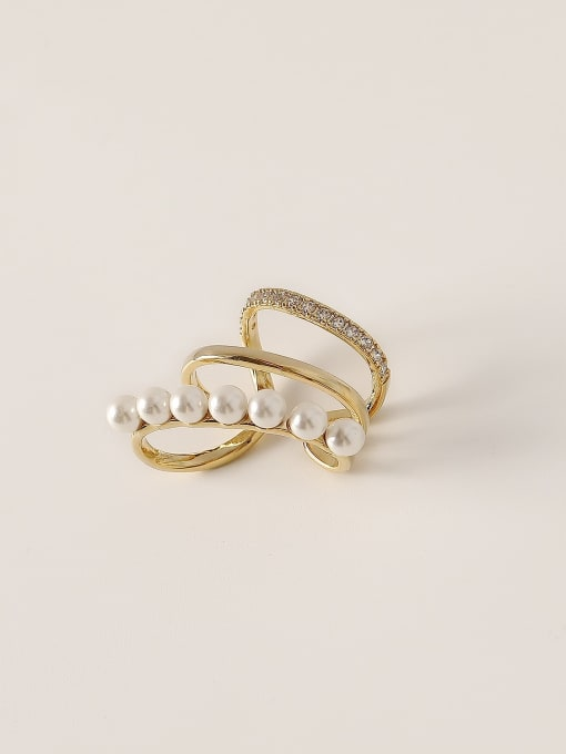 HYACINTH Brass Imitation Pearl Geometric Vintage Clip Earring 2