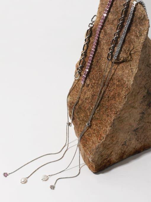 TINGS Brass Cubic Zirconia Geometric Vintage Lariat Necklace 1