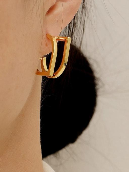 HYACINTH Brass Geometric Minimalist Stud Trend Korean Fashion Earring 1