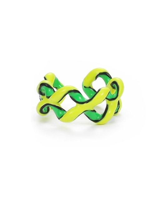 Yellow green Zinc Alloy Enamel Geometric Minimalist Stackable Ring