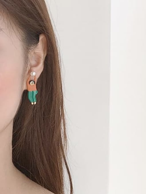 Five Color Alloy Enamel Irregular Cute Stud Earring 1