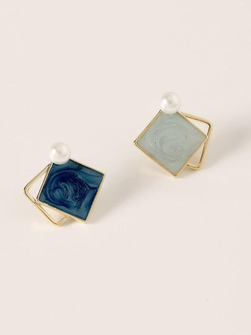 HYACINTH Brass Enamel Geometric Vintage Stud Earring 4