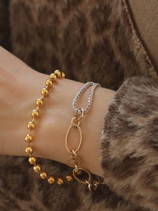 ACCA Brass Cubic Zirconia  Vintage Asymmetric hollow chain Link Bracelet 2