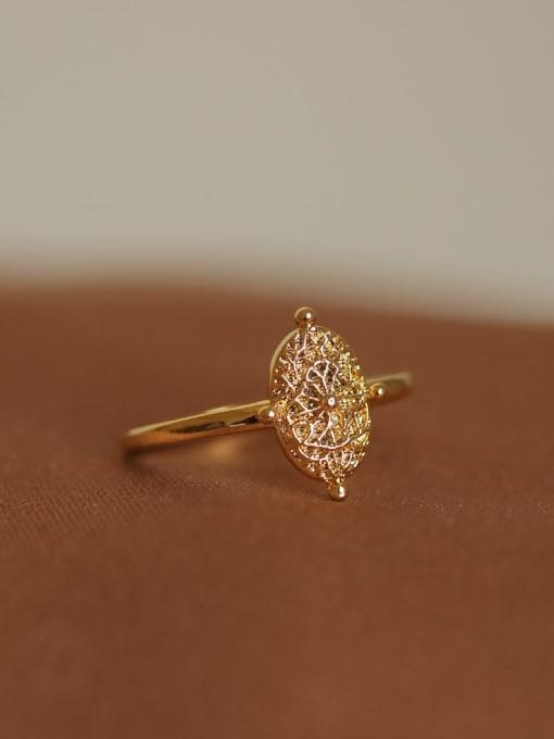 ACCA Brass Geometric Vintage Retro wild leaf pattern Band Ring 3