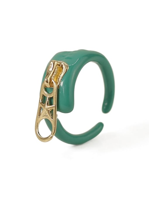 ACCA Brass Enamel Irregular Hip Hop Band Ring 3