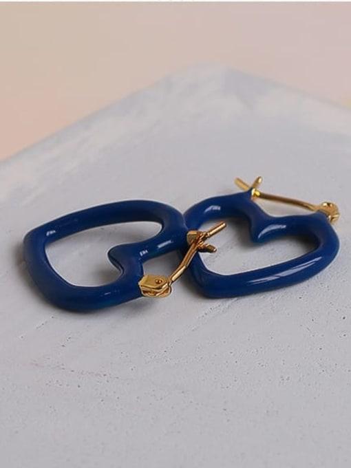 Five Color Brass Enamel Heart Minimalist Huggie Earring 3