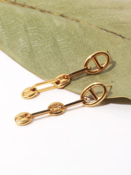 TINGS Brass Hollow Geometric Minimalist Drop Earring 2