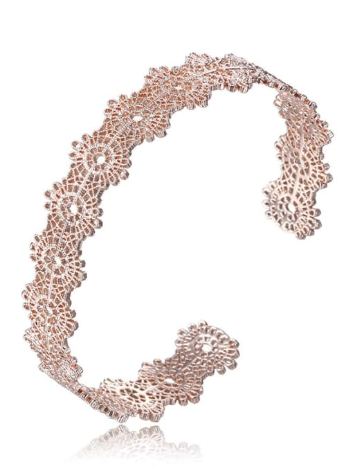 rose gold Brass Hollow  Rosary Vintage Cuff Bangle