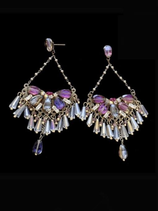 SUUTO Brass Crystal Geometric  Imitate Statement Drop Earring