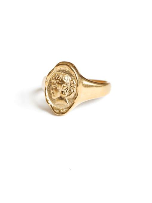 portrait Brass Geometric Portrait Vintage Band Ring