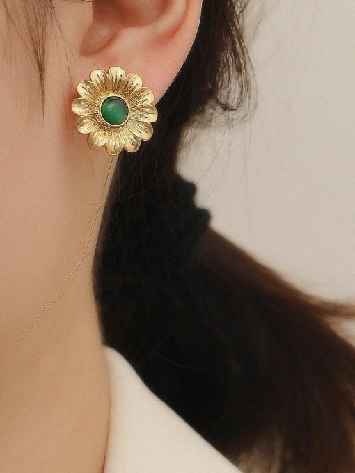 HYACINTH Brass Acrylic Asymmetric flowers Geometric Vintage Stud Trend Korean Fashion Earring 1