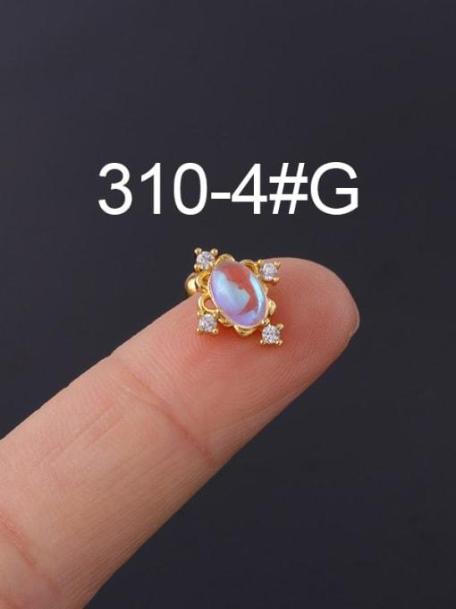 4  Gold (Single) Brass Cubic Zirconia Geometric Hip Hop Stud Earring