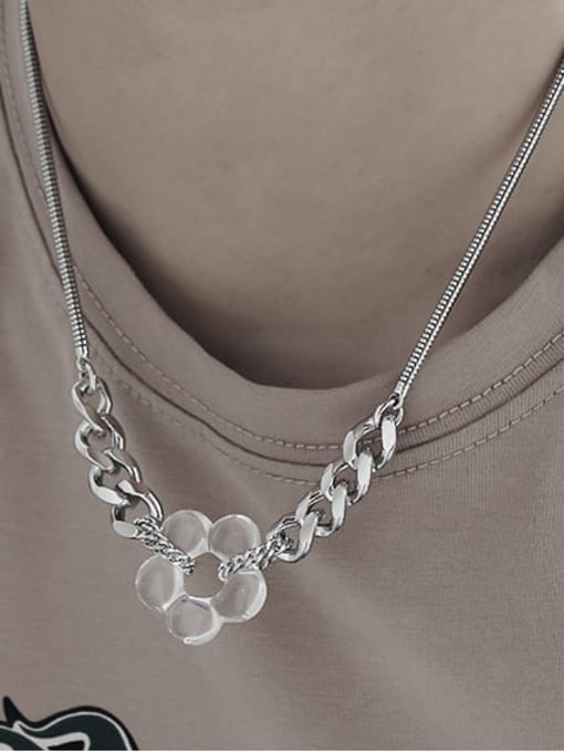 TINGS Brass Hollow Flower Minimalist Necklace 2