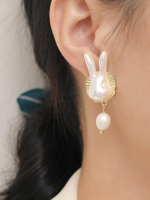 HYACINTH Brass Freshwater Pearl Rabbit Trend Drop Earring 1
