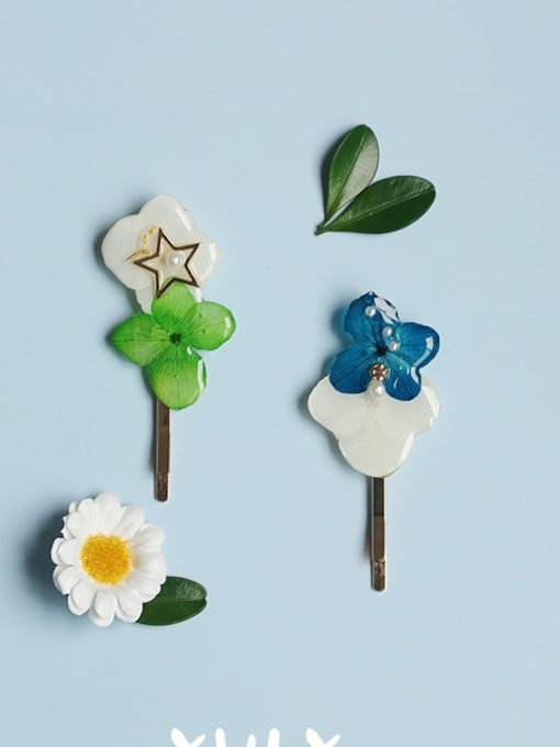 Five Color Alloy Enamel Cute Flower  Hair Pin