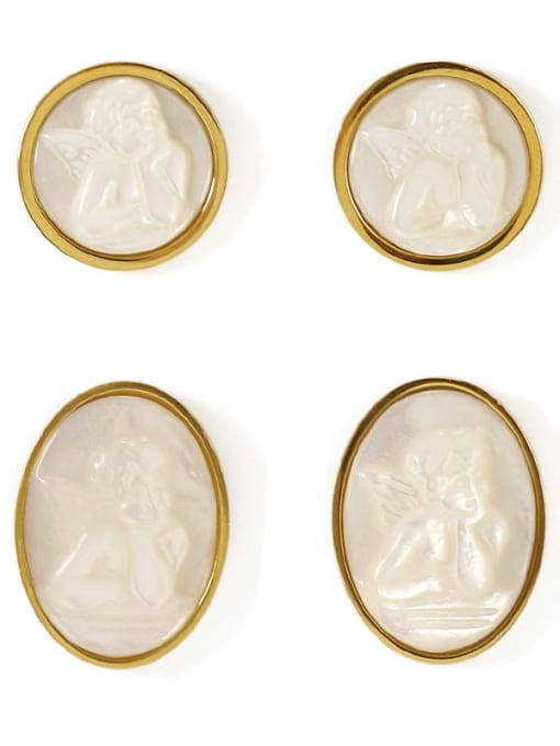 ACCA Brass Shell Round Vintage Stud Earring 3