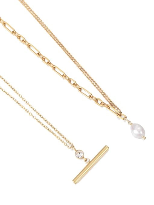 Five Color Brass Imitation Pearl Geometric Vintage Necklace 4