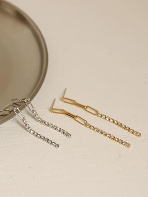 ACCA Brass Cubic Zirconia Tassel Minimalist Threader Earring 4