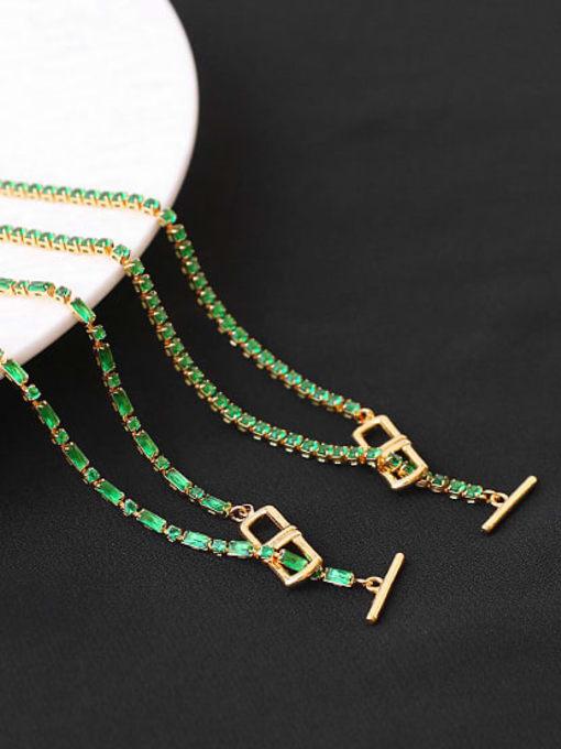 ACCA Brass Cubic Zirconia Geometric Vintage Lariat Necklace