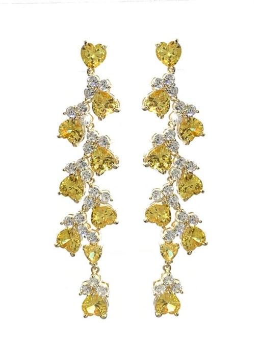 yellow Brass Cubic Zirconia Irregular Statement Drop Earring