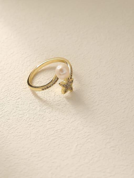 HYACINTH Brass Cubic Zirconia Star Cute Band Ring 2