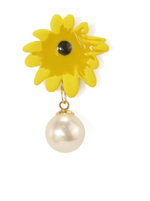 Five Color Alloy Imitation Pearl Enamel Flower Cute Stud Earring 3