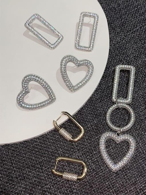 OUOU Brass Cubic Zirconia Heart Statement Drop Earring 0