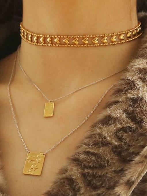 ACCA Brass Hollow Heart Minimalist Choker Necklace 1