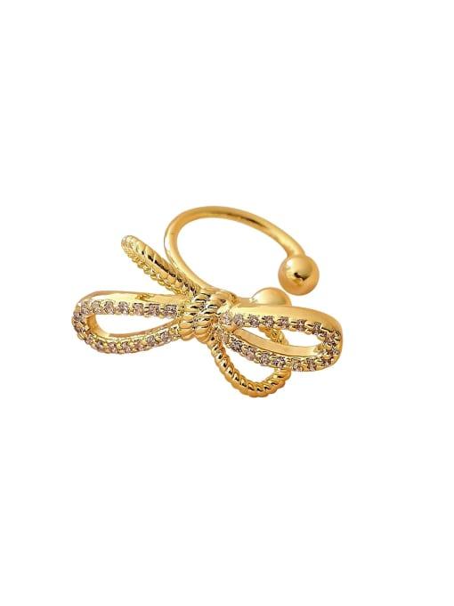 HYACINTH Brass Cubic Zirconia Bowknot Minimalist Clip Earring