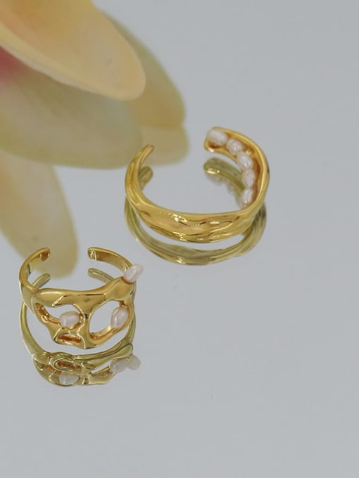 ACCA Brass Imitation Pearl Irregular Hip Hop Band Ring