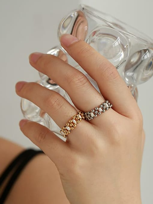 ACCA Brass Imitation Pearl Geometric Vintage Stackable Ring 1