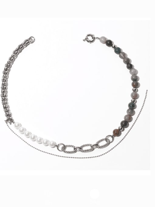steel Brass Glass Stone Geometric Vintage Beaded Necklace