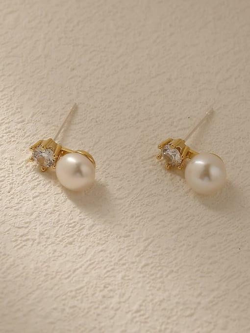 14k Gold Brass Imitation Pearl Geometric Vintage Stud Trend Korean Fashion Earring