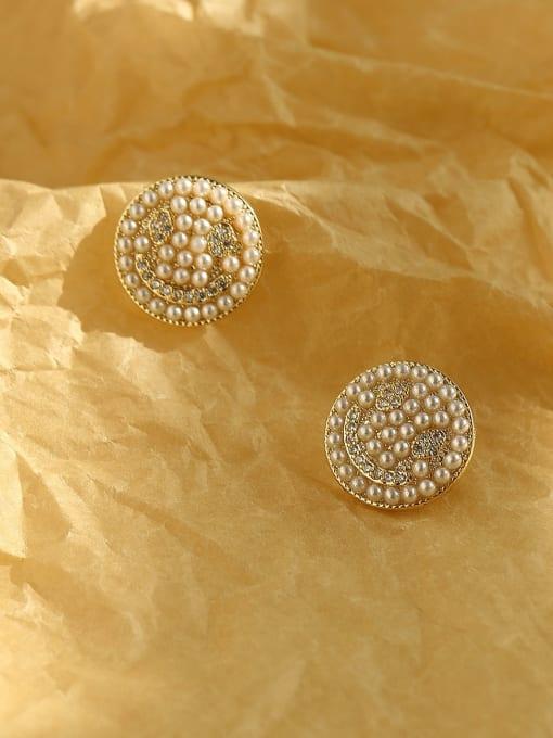 HYACINTH Brass Imitation Pearl Geometric Bohemia Stud Earring 4