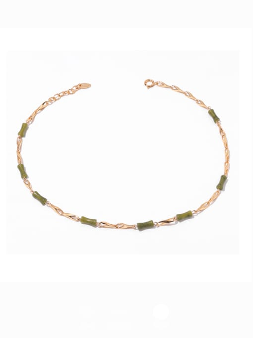 Bamboo Necklace Brass Shell Geometric Minimalist Necklace
