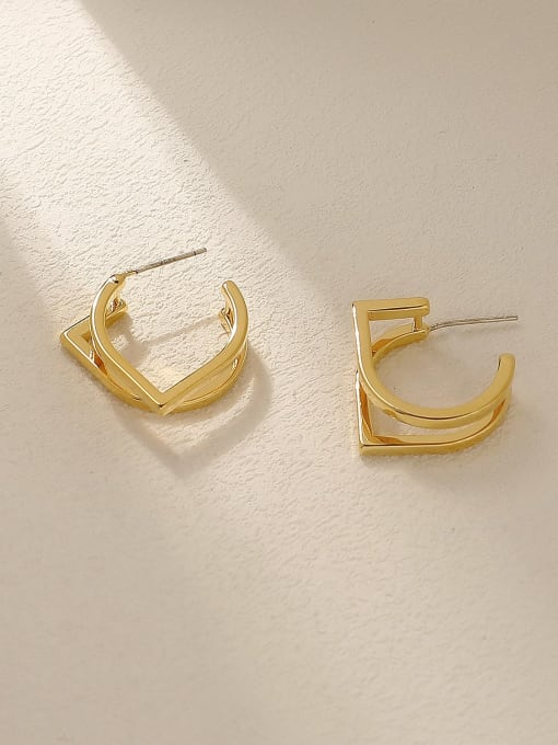 18K Gold Brass Geometric Minimalist Stud Trend Korean Fashion Earring