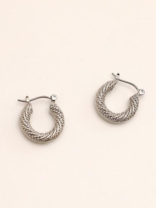 White K Brass Geometric Vintage Huggie Earring