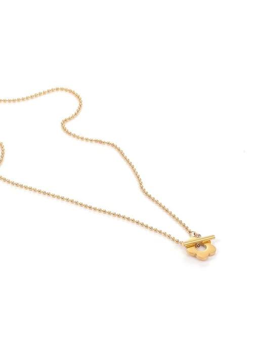 Five Color Titanium Steel Flower Minimalist Beaded Necklace 4