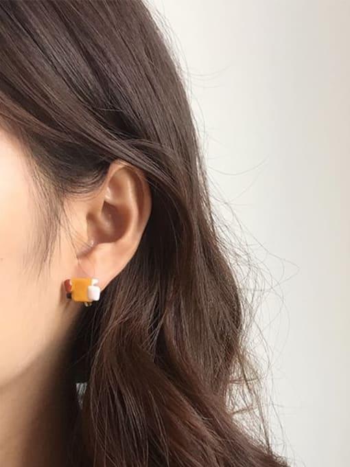 Five Color Alloy Enamel Geometric Vintage Stud Earring 1