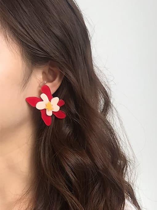 Five Color Alloy Acrylic Flower Cute Stud Earring 1