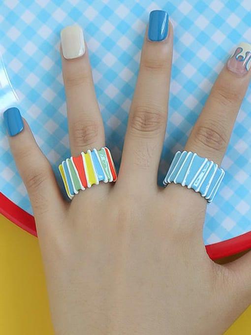 Five Color Zinc Alloy Enamel Rainbow Minimalist Band Ring 2