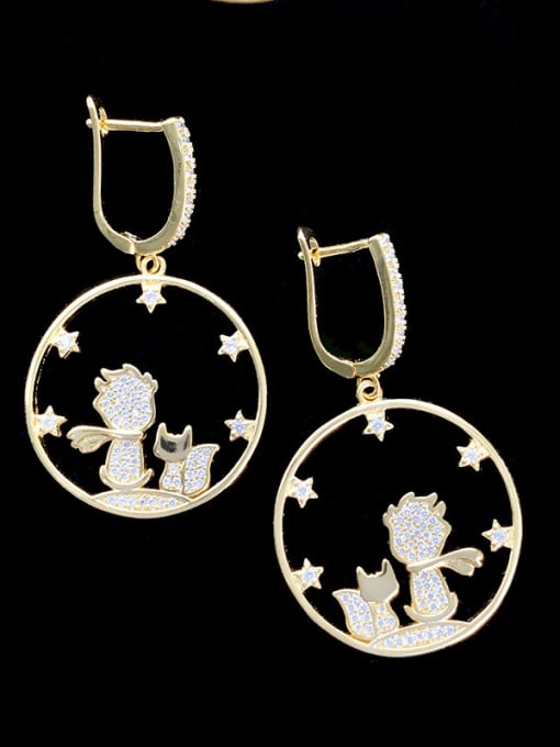 SUUTO Brass Cubic Zirconia Geometric Bohemia Huggie Earring 0
