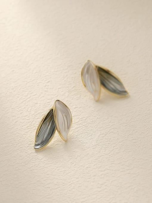 14k gold Brass Tree Leaf Minimalist Stud Earring