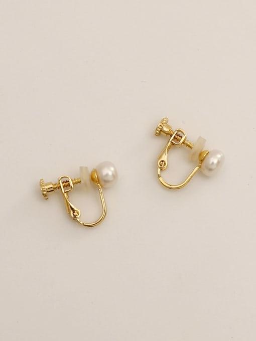 HYACINTH Brass Imitation Pearl Geometric Ethnic Clip Earring 0