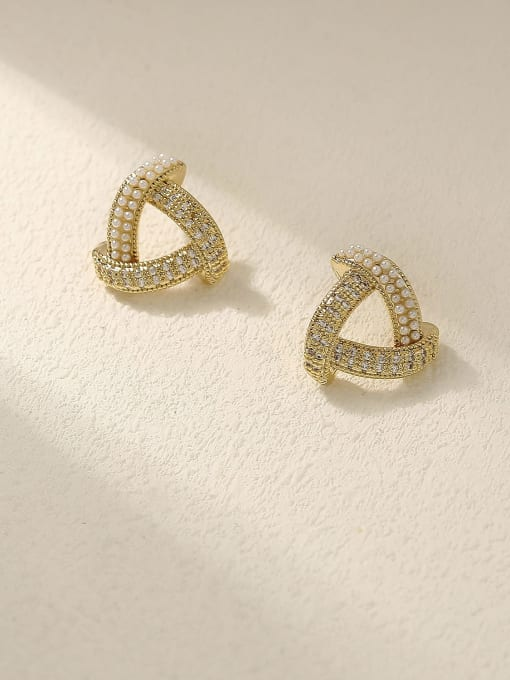 HYACINTH Brass Cubic Zirconia Triangle Minimalist Stud Earring 0