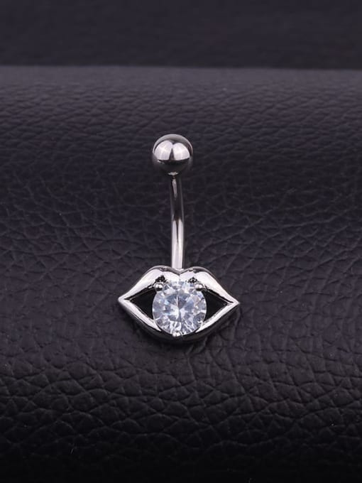 HISON Stainless steel Cubic Zirconia Mouth Hip Hop Belly Rings & Belly Bars 0