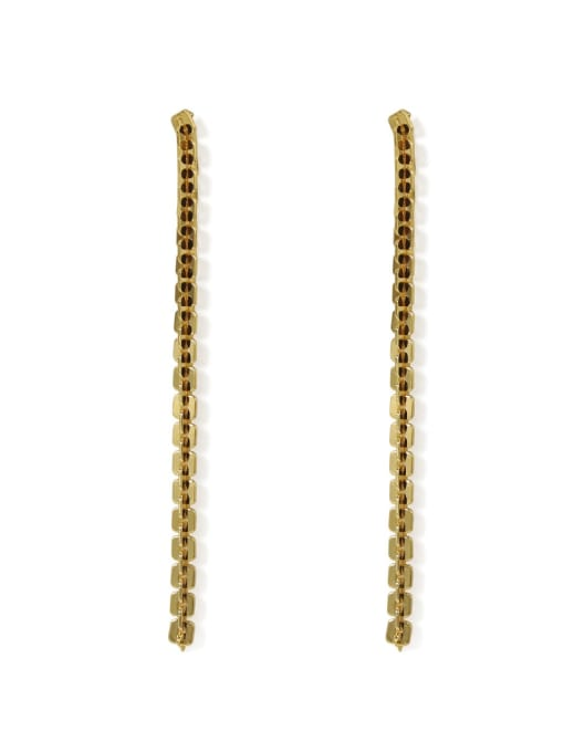 ACCA Brass Cubic Zirconia Tassel Classic Threader Earring 3