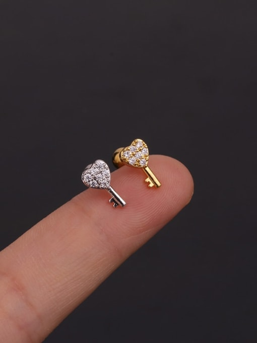 HISON Copper With Cubic Zirconia White Key Dainty Stud Earring 3
