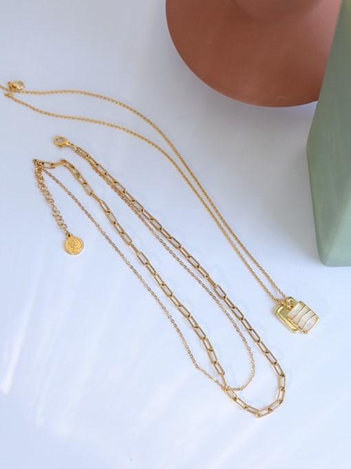 Five Color Brass Shell Geometric Vintage Multi Strand Necklace 0
