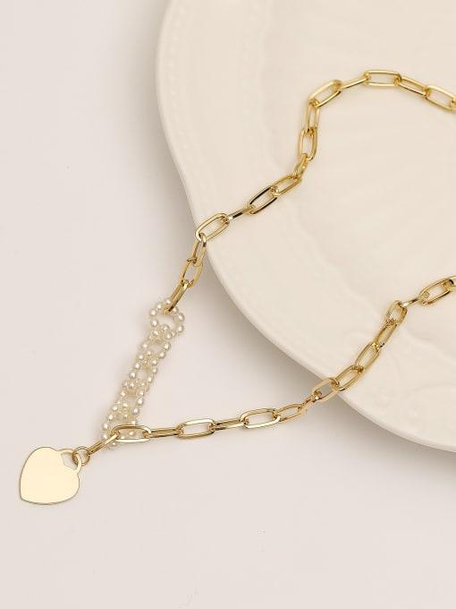 14k gold Brass Imitation Pearl Heart Minimalist Necklace